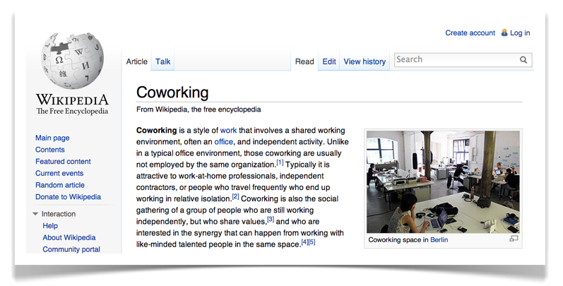 Coworking on Wikipedia: according to Brad Neuburg there are mistakes